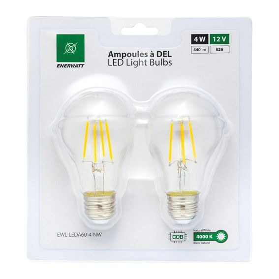 Enerwatt EWL-LEDA60-4-NW 4 Watt LED bulb pack of 2