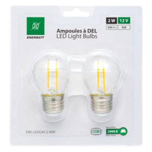 Enerwatt EWL-LEDG45-2-WW 2W LED bulb pack of 2