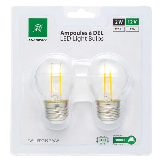 Enerwatt EWL-LEDG45-2-WW 2W LED bulb pack of 2